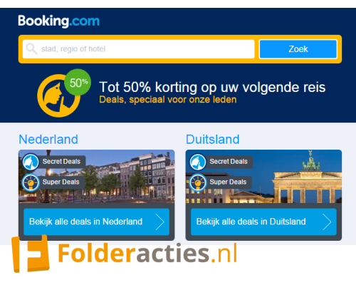 Booking.com Secret Deals en Super Deals folderacties.nl