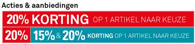 Karwei 20 en 15 procent korting op 1 artikel naar keuze