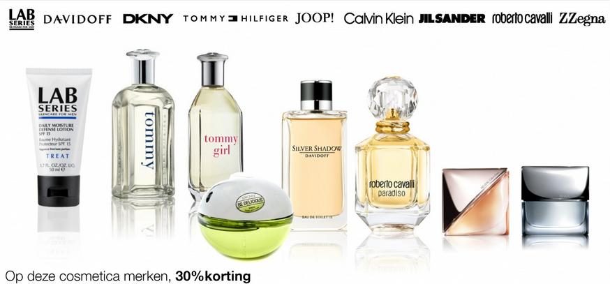 Diverse cosmetica merken, zoals parfum met korting tot 30%