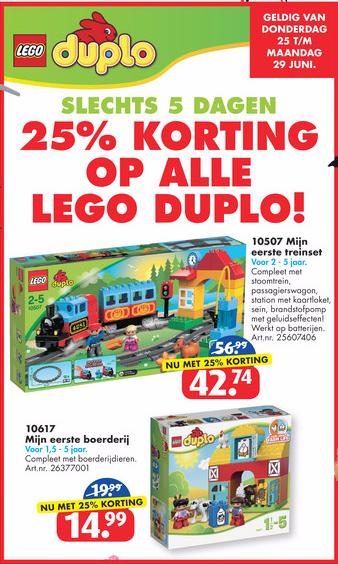 Lego en Duplo 25 procent korting
