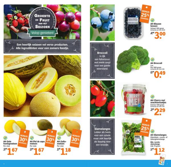 Albert Heijn groente en fruit bonus aanbiedingen