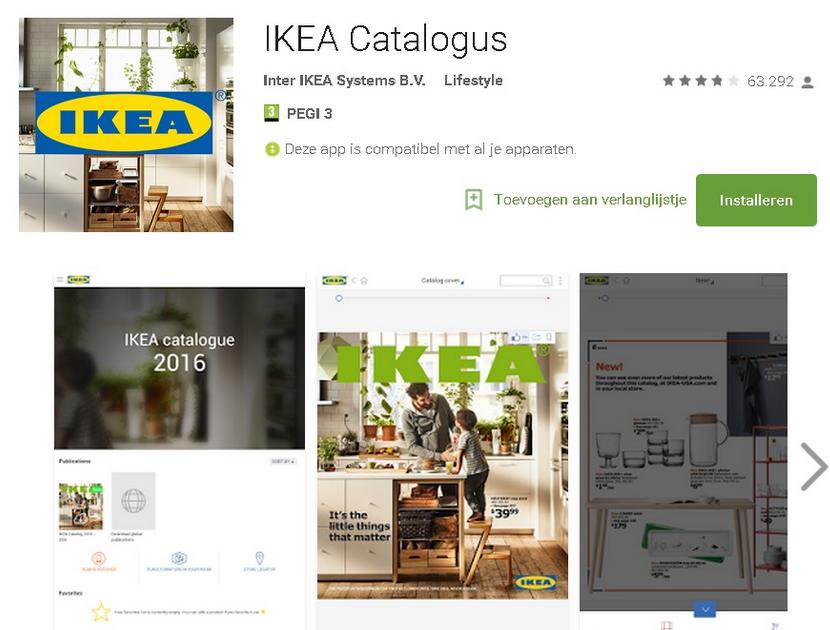 IKEA 2016 app voor IOS en Android