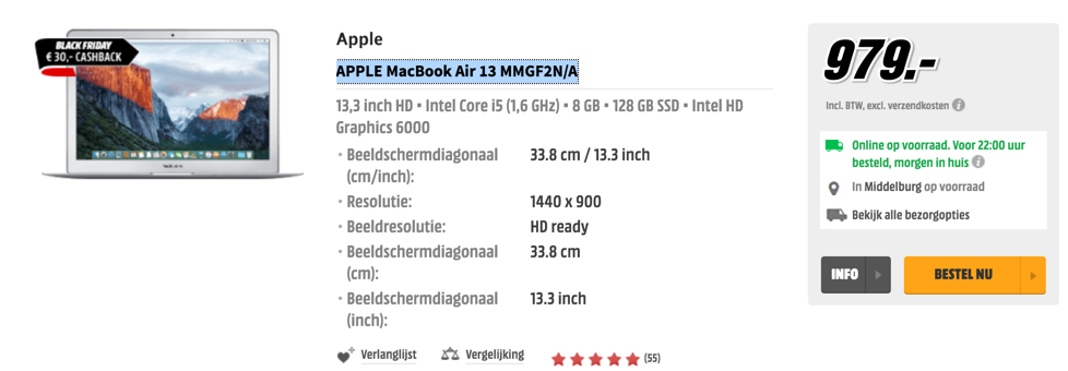 APPLE MacBook Air 13 MMGF2N/A Media Markt Black friday aanbieding